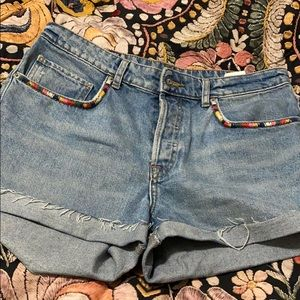 H&M embroidered high wasted mom jean shorts